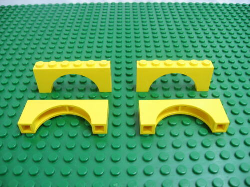 4x Vintage LEGO Yellow Arch Brick 1 x 6 x 2 Imperial Trading Post 6277#3307