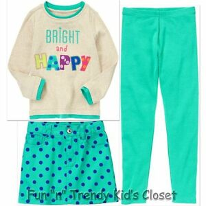 NWT Gymboree COLOR HAPPY Girls Size 4 or 5 Skirt Tee Shirt Top Leggings 3-PC SET