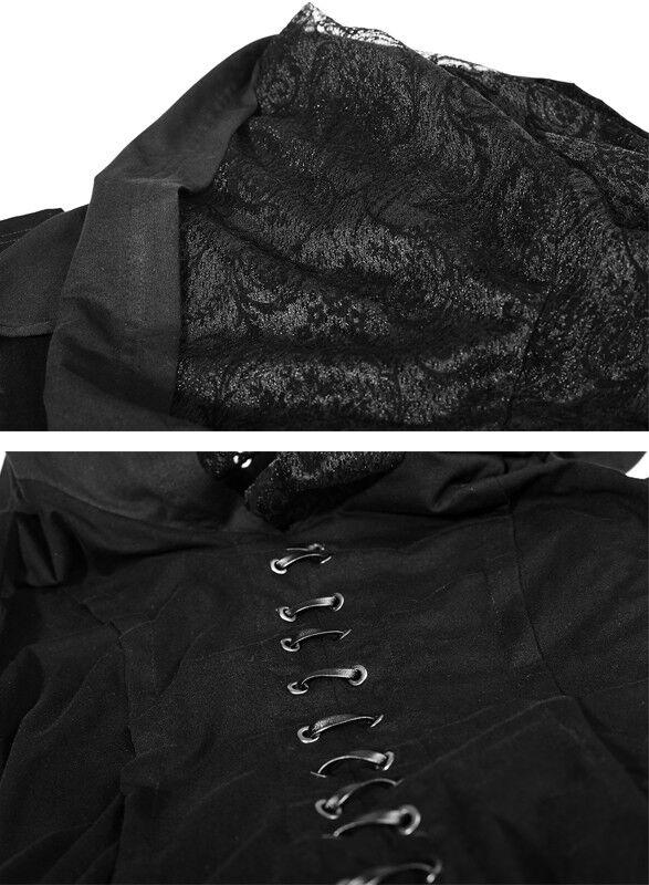 Schlitz Lang Kapuzen Kleid Gothic Lolita elbischen Hexe Hexe Hexe Schnürung Mode PunkRave aeaaa1