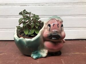 Shawnee Pottery Baby Duck Chick Cracked Egg Vintage Planter Pink Green~No plant