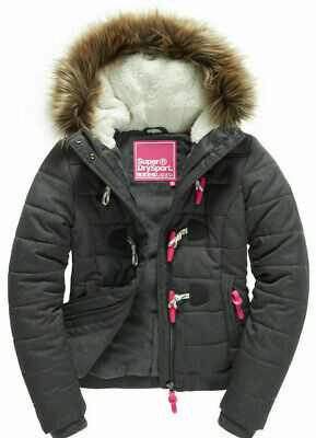 New Womens Superdry Tall Marl Toggle Puffle winter Jacket black marl large w