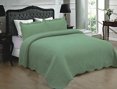Fancy Linen 3pc Quilted Bedspread Embroidery Solid White All Sizes New