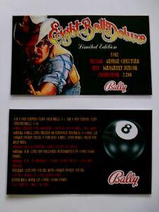 * 'EIGHT BALL DELUXE LE ' Bally 1982 Custom Instruction/Apron Cards * (New)