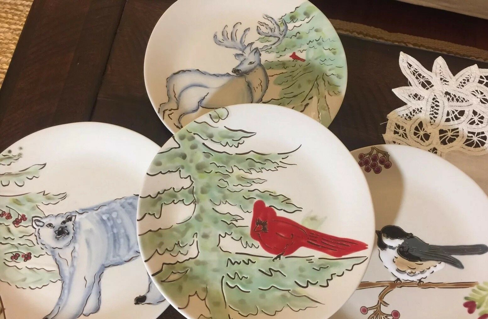 NIB Pottery Barn S 4 WINTER FOREST 8  PLATES CHRISTMAS STAG ARCTIC
