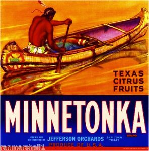 San Juan Texas Minnetonka Orange Citrus Fruit Crate Label Art Print