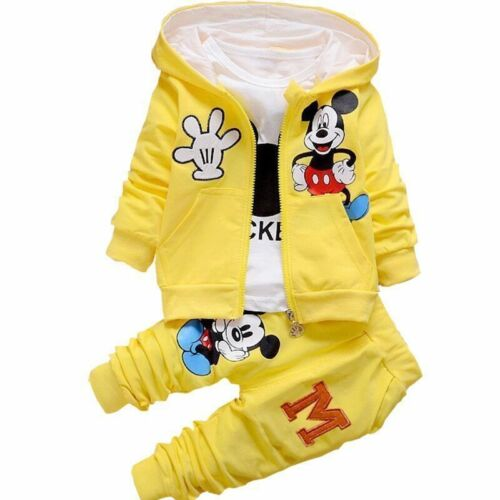 3pcs Toddler Baby Boys Girls Cartoon Mickey Mouse Hooded Coat+Tops+Pants Clothes