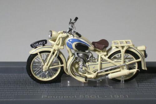 Peugeot 55GL 1951 Cream 1//24 Scale New in Case T48 Post Classic Motor Bike J02