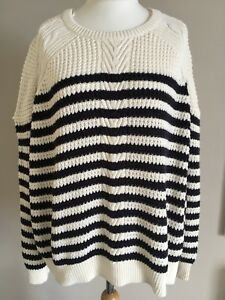 New-With-Tags-Marks-And-Spencer-Ladies-Navy-Ivory-Stripe-Knit-Jumper-Size-22