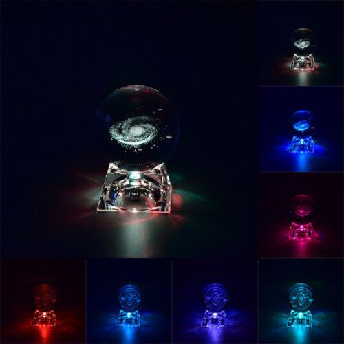 3D Engraved Crystal lamp night light luminous Craft Glass Sphere Home DecorYE