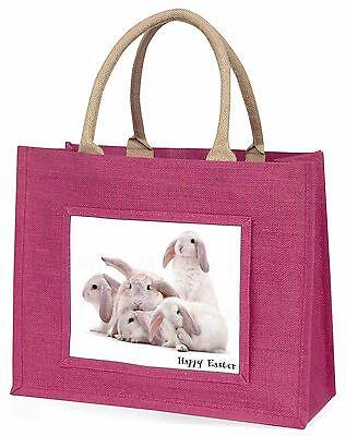 weiß Kaninchen 'Frohe Ostern' Große Rosa Einkaufstasche Weihnachten Presen,