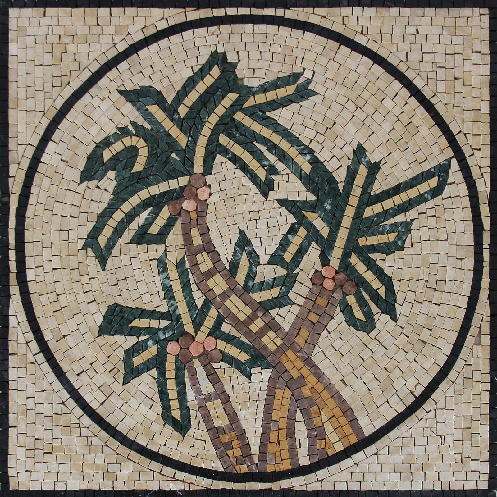 Rounded Geometrical Triple Palm Trees Home Decor Marble Mosaic FL938