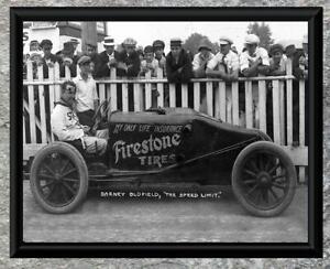 Classic-Barney-Oldfield-Firestone-Adv-Race-Car-Antique-5x7-Photo-Print