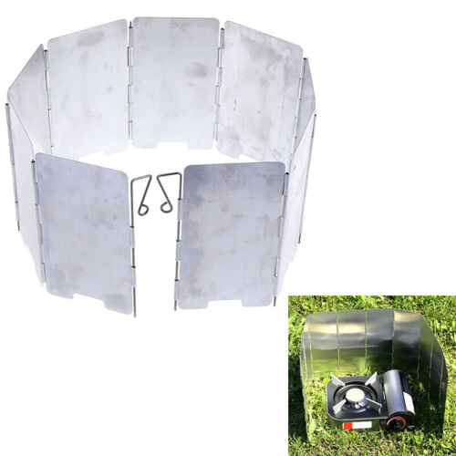 9 Plate Foldable Burner Windshield Outdoor Camping Cooking Gas Stove Wind SY/_YHY