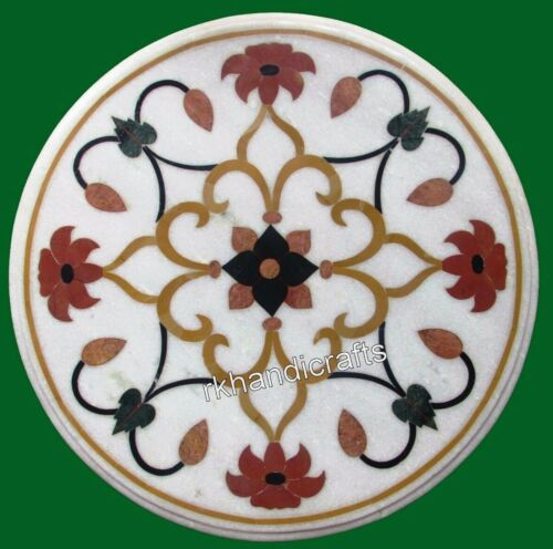 14 x 14 Inches Marble Coffee Table Top Inlay Sofa Side Table with Floral Design