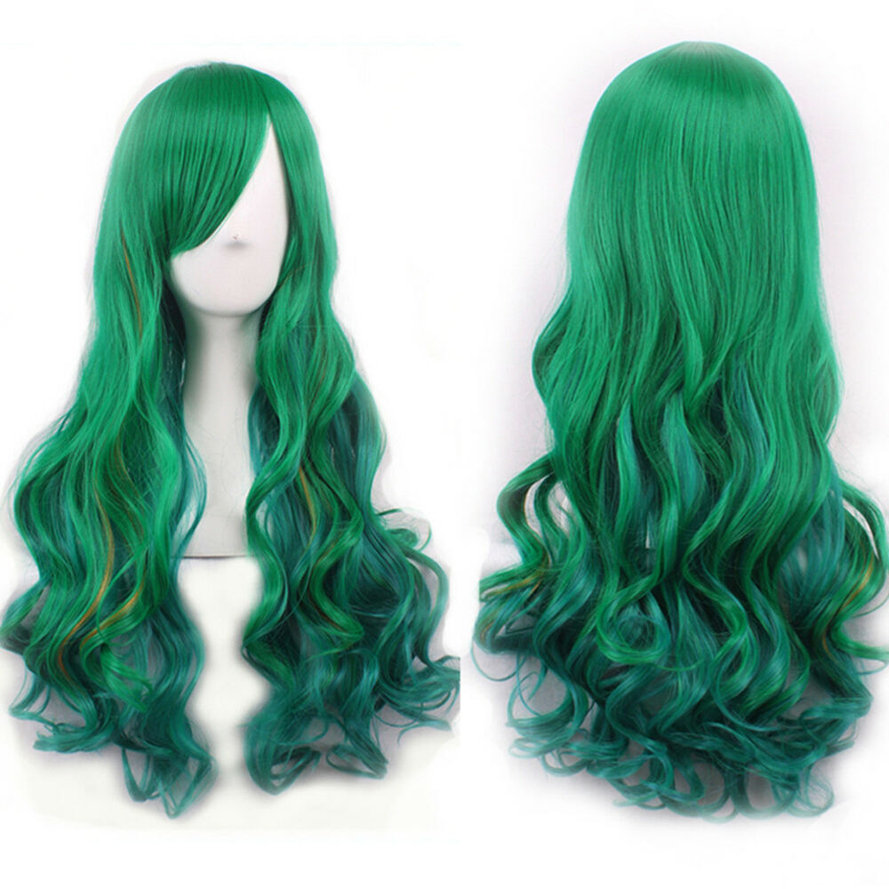 EP_ Natural Hairpiece Women Gradient Green Long Curly Wig Fluffy Cosplay Party S Hair Care & Styling