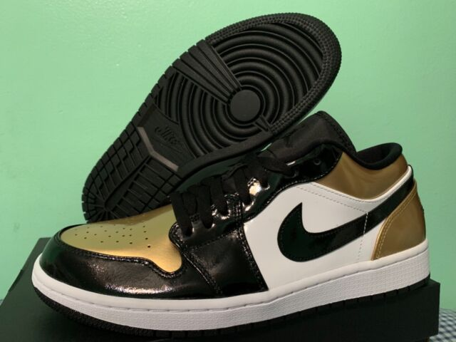 the best attitude 3e342 11e53 Nike Air Jordan Retro 1 Low Gold Toe Black Metallic White sz 8-13 CQ9447-700