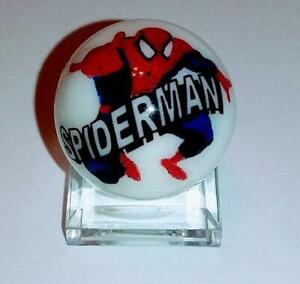 """A  Spiderman Collectible Glass 1/"""" Logo Marble With Stand #1"""