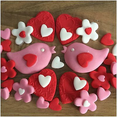30 Valentines Day Edible Cup Cake Decorations Toppers  Love Doves Hearts Flowers