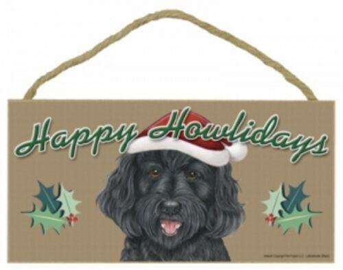 "LABRADOODLE-BLACK--Happy Howlidays--Dog Decorative Wood Plaque//Sign 5/"" x 10/"""