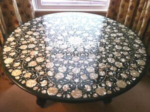 Image Is Loading Black Marble Dining Table Inlaid Abalone Stone Mosaic