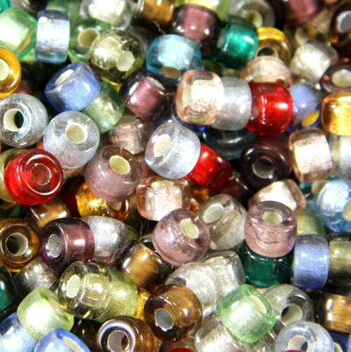 9mm Pony 3.5mm Hole Mixed Colors w//Silver Lining Roller Beads 20 Pieces
