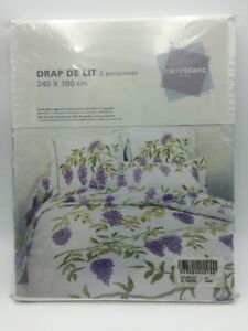 CARRE-BLANC-PARIS-King-Size-FLAT-SHEET-Wisteria-NWT-Luxury-Bed-Linens