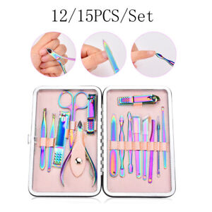 12-15pcs-Manicure-Pedicure-Set-Nail-Clippers-Callus-Remover-Kit-Hand-Foot-Care