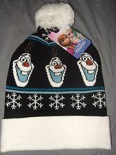 NWT Disney Frozen Olaf Snowman Snowflake Fair Isle Pom Knit Beanie Ski Hat Cap