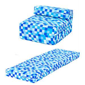 Blue-Pixels-Kids-Single-Chair-Bed-Sofa-Z-Bed-Seat-Foam-Fold-Out-Guest-Futon