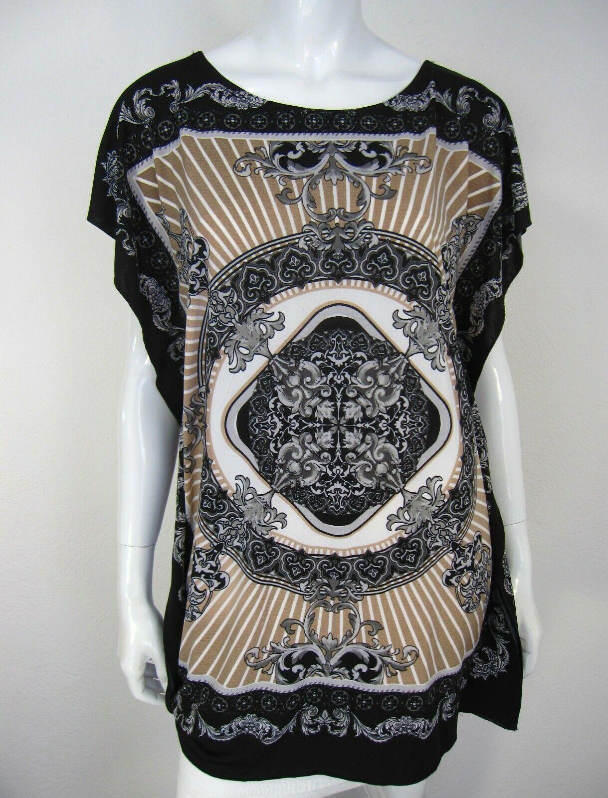 Metaphor NWT Short Sleeve TOP Blouse Größe L Large schwarz braun Paisley