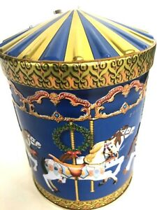 Germany-Blue-Embossed-Carousel-Horse-Tin-Cookie-Music-Box-2008-Away-In-A-Manger