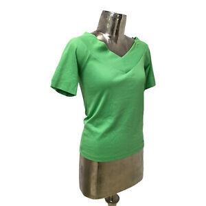 Marble Cotton Top T-Shirt Scoop Neck Green UK 12 (EU40) NEW Women's RRP £39