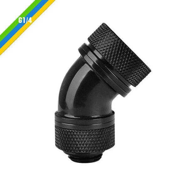 Thermaltake CL-W096-CA00BL-A G1/4 PETG Tube 45-Degree Compression 16mm OD, Black