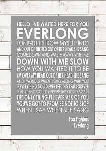 Everlong Foo Fighters Word Typography Words Song Lyric