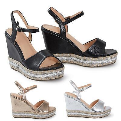 Frank Shelikes Ladies Shiny Peep Toe Strappy Wedge Slip On Summer Beach Sandals Moderater Preis