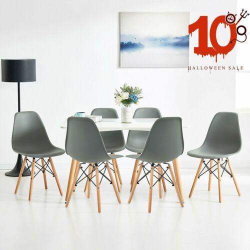 1-6er Set Stuhl Esszimmerstuhl Lederoptik Küchenstuhl Holzbeine Stuhlgruppe Grau