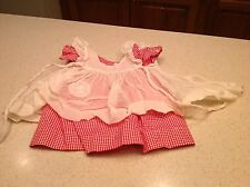 "Vintage 19"" Princess Elizabeth McGuffy Ana Red White Check Dress & Overdress"