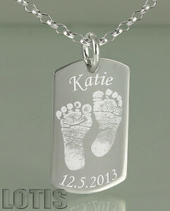 925 sterling silver your baby footprints engraved id dog tag image is loading 925 sterling silver your baby footprints engraved id aloadofball Choice Image