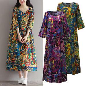 Women-Floral-Print-Kaftan-Long-Shirt-Dress-Vintage-Ethnic-Caftan-Midi-Dress-Plus