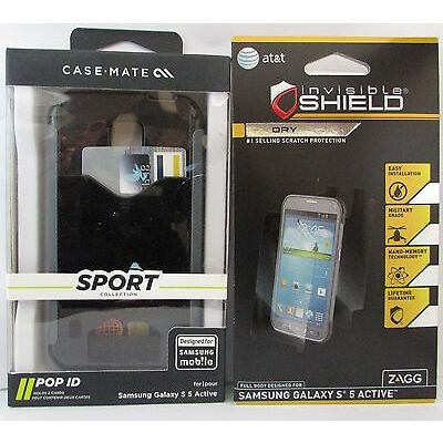 Case-Mate Sport POP! Case Samsung Galaxy S5 Active Black w'ZAGG Screen -NIB