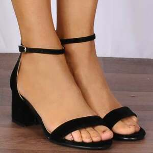 49a4e2be61 BLACK FAUX SUEDE LOW HEELED STRAPPY SANDALS BARLEY THERE HEELS SHOES ...