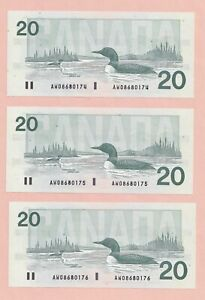 3-x-Sequential-1991-20-Bank-of-Canada-Knight-Dodge-GEM-UNC