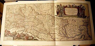 Historische Landkarte Donau Donauverlauf Moravia, Rumänien Böhmen Ca.1658