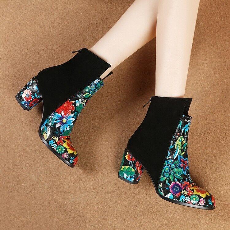 Fashion Donna Floral Zipper Block Heels Ankle Shoes Stivali Pelle Shoes Ankle Plus sz Party f75e93