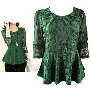 Green-Lace-Peplum-Top-Size-10-12-14-16-18