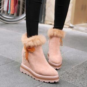 bowknot Plattform Wildleder hoher Womens Stiefeletten Keilabsatz Schuhe Chic Reißverschluss Nw seitlicher qAwnR1a