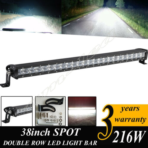 "38/""Inch 216W Double Row CREE LED Straight Light Bar for Jeep//UTV//4x4//Boat Truck"