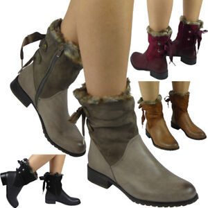 Womens-Ladies-Fur-Lining-Ribbon-Lace-Up-Zip-Low-Heel-Work-Ankle-Boots-Shoes-Size