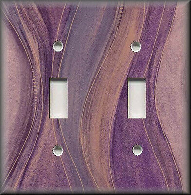 Metal Light Switch Plate Cover Wavy Purple Hues Modern Home Decor Purple Stripes