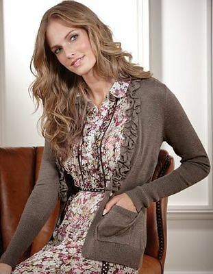 Bravissimo Ruffle Neck Cardigan by Pepperberry in Mocha Color (30)